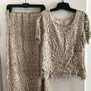 Champagne Beaded Lace 2 pc. Evening Wear